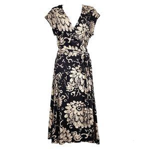 LUCKY BRAND Black Floral Wrap Boho Dress XL